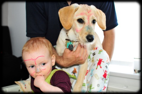 dog and baby with crayons