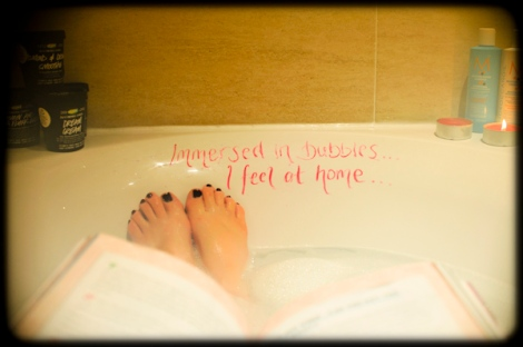 reading a book in the bath