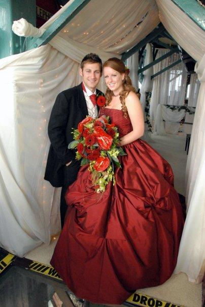 red wedding dress blackpool tower wedding gemma dee rock fm